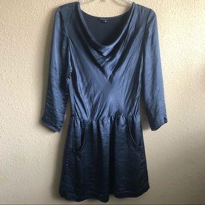 Theory Silk Midnight Blue Cowl Neck Holiday Dress